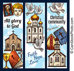 Christian community religious banners, vector