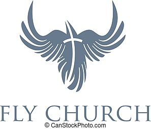 Christian concept,bird and cross