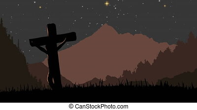 Animation of Christian cross over landscape at night with mountains and stars. Religion faith tradition nature concept digitally generated image.