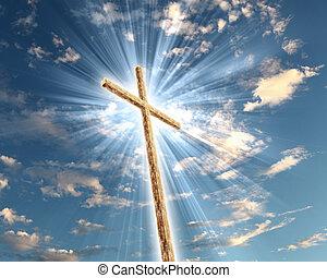 Christian cross against the sky