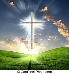 Christian cross against the sky in a blaze of glory. ...