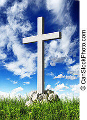 Christian cross and blue sky