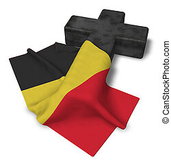 christian cross and flag of belgium - 3d rendering