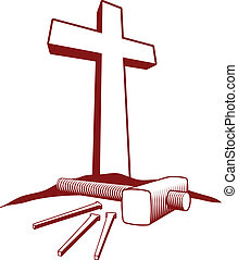 Woodcut style illustration of a Christian cross, hammer and three nails.
