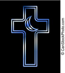 Christian cross and Islamic crescent symbols, vector illustration