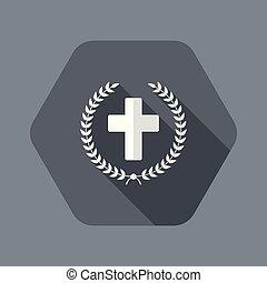 Christian cross and laurel