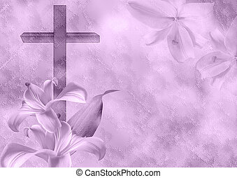 Christian cross and lily flower on purple background