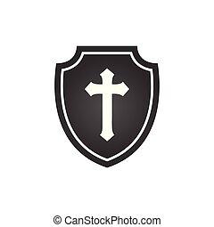 Christian cross and shield of faith. Christian church vector...