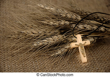 Christian Cross And Wheat - Christian cross on wheat ears - ...