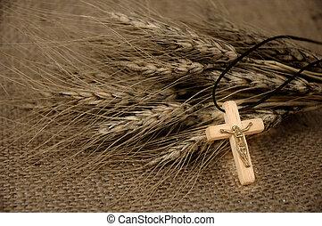 Christian Cross And Wheat - Christian cross on wheat ears -...