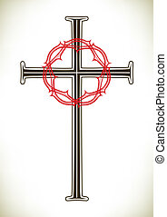 Christian cross and wreath - Christian cross and red thorny...