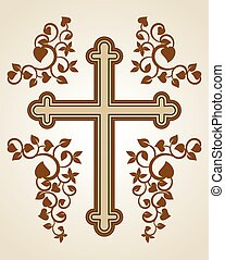 Cross - Christian Cross design with floral decorations