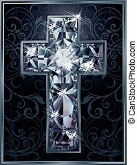 Christian Cross diamond card vector