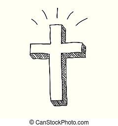 Christian Cross Doodle - Christian easter cross vector...