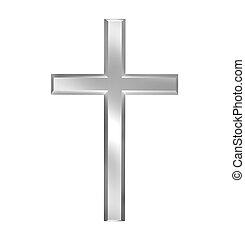 Christian cross - Silver christian cross isolated over white...