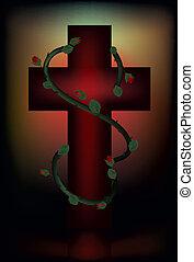 Christian cross. Easter card.
