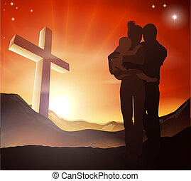 Christian Cross Family Group - A Christian family with a...