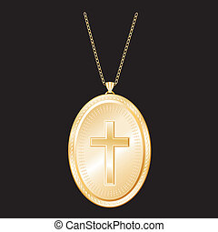Christian Cross Gold Locket, Chain - Vintage Christian Cross...