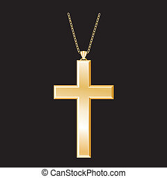 Christian Cross, Gold Necklace - Gold Christian Cross with...