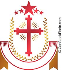 Christian Cross golden emblem created with red star, laurel wreath and luxury ribbon. Heraldic Coat of Arms decorative logo isolated vector illustration. Religion and spirituality symbol.