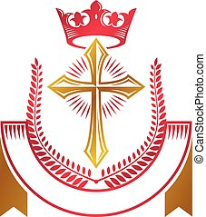 Christian Cross golden emblem created with royal crown, laurel wreath and luxury ribbon. Heraldic Coat of Arms decorative logo isolated vector illustration. Religion symbol.