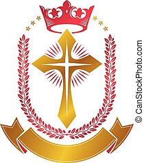 Christian Cross golden emblem created with royal crown, laurel wreath and luxury ribbon. Heraldic Coat of Arms decorative logo isolated vector illustration. Religion and spirituality symbol.