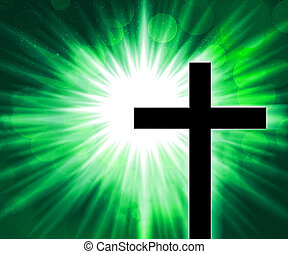 Christian Cross Green Background