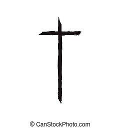 Christian cross grunge vector illustration. Old vector...