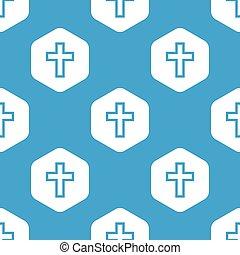 Christian cross hexagon pattern