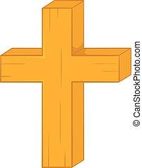 Christian cross icon in cartoon style