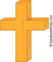 Christian cross icon in cartoon style