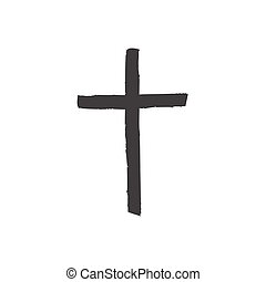 Christian cross icon isolated on white background. Christian...