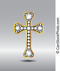 Christian Cross in Gold with Diamon - Stunning Christian...