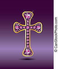 Christian Cross in Gold with Garnet - Stunning Christian...