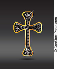 Christian Cross in Gold with Onyx