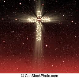 christian cross in stars - great glowing christian cross in ...