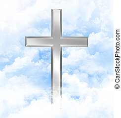 Christian cross in the clouds - Silver christian cross in...