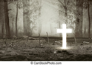 Christian Cross in the forest