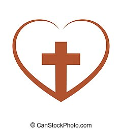 Christian cross inside in the heart. Vector illustration. -...