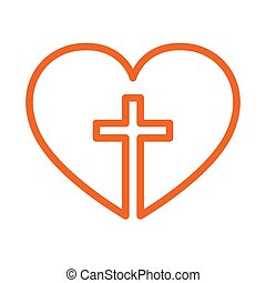 Christian cross inside in the heart. Vector illustration. - ...