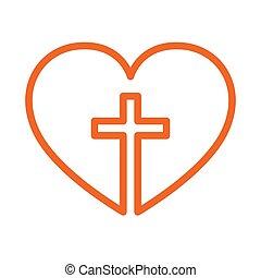 Christian cross inside in the heart. Vector illustration. -...