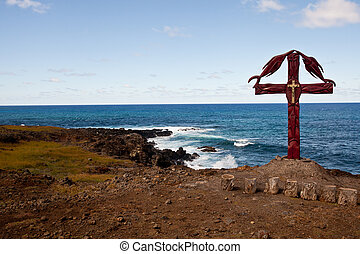 Christian Cross On Easter island coastline