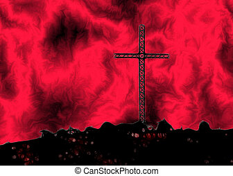 Christian Cross on Hill Art