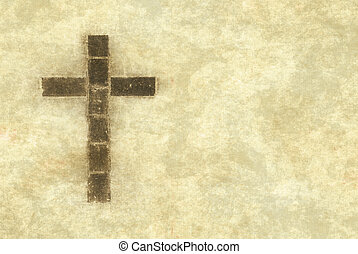 christian cross on parchment - great image of a christian...