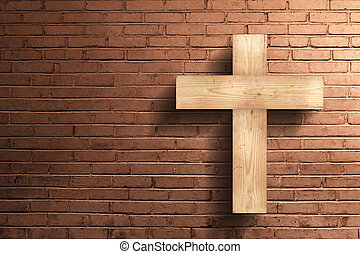 Christian cross on the brick wall