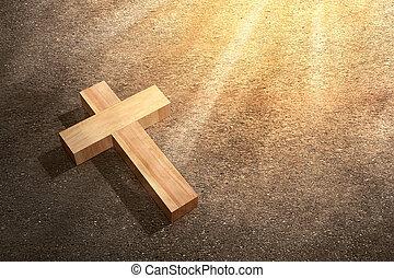 Christian cross on the street