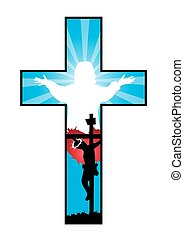 Religion Cross with crucifixion and resurrection of Jesus