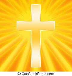 Christian cross shining in divine light