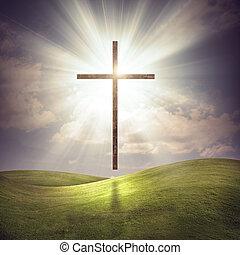 Christian Cross - A floating Christian cross on a grassy...