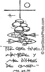 Christian Cross, symbols and phrase - Hand drawn vector...